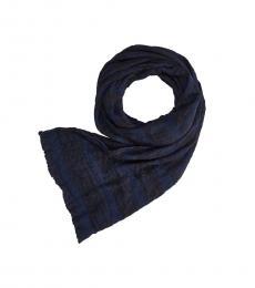 Armani Jeans Blue Woven Logo Scarf