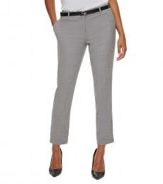 Calvin Klein Black White Slim Ankle-Length Pants
