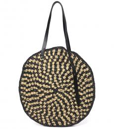Rebecca Minkoff Natural Black Woven Circle Large Tote