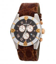 Roberto Cavalli Brown Diamond Chronograph Watch