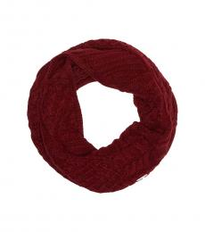 Michael Kors Dark Maroon Cable Knit Infinity Scarf