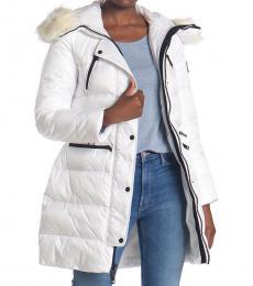 Michael Kors White Faux Fur Trimmed Puffer Jacket