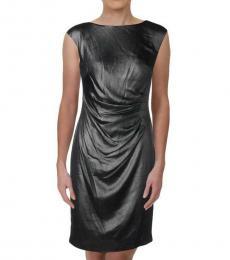 Ralph Lauren Navy Blue Metallic Pleated Sheath Dress