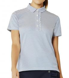 Tory Burch Light Blue Striped Ruffle Polo Tee