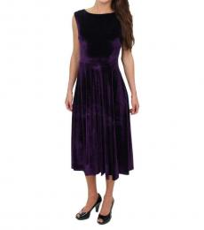 Betsey Johnson Plum Velvet A-Line Midi Dress