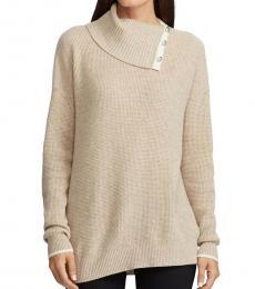 Beige Cashmere Button Neck Sweater