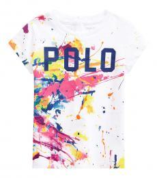 Ralph Lauren Baby Girls Multi Paint-Splatter T-Shirts