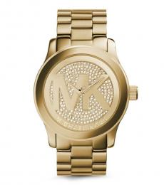 Golden Crystal Pave Watch
