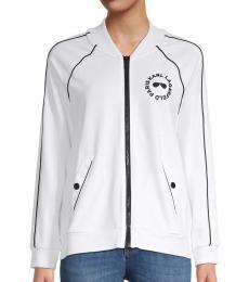Karl Lagerfeld Soft White Logo Raglan-Sleeve Track Jacket