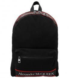 Alexander McQueen Black Logo Large Backpack