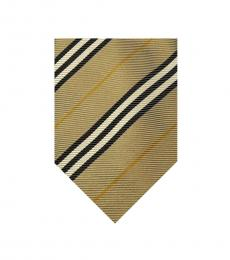 Burberry Khaki Black Stripes Tie