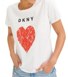 DKNY White Crackle Heart Logo Tee