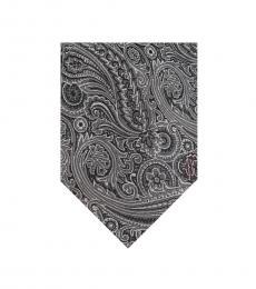 Black Grey Floral Jacquard Tie