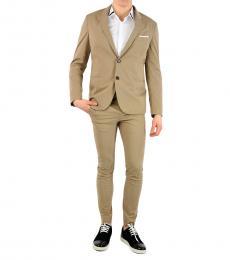 Beige Cotton Blend Single Breast Suit