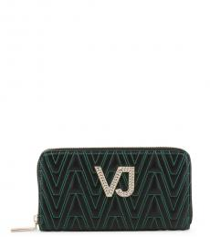 Versace Jeans Black Green Stitching Wallet