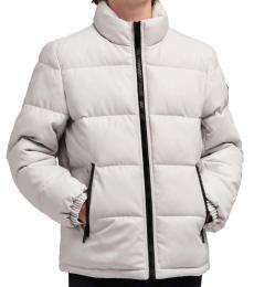 Ice Faux Leather Quilted Puffer