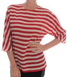 Dolce & Gabbana White Striped Silk Top