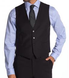 Black Slim Fit Wool Blend Suit Vest