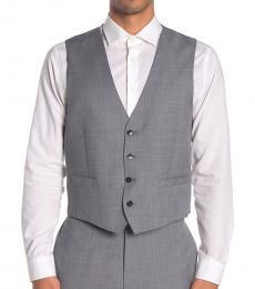 Medium Grey Twill Slim Fit Suit Vest