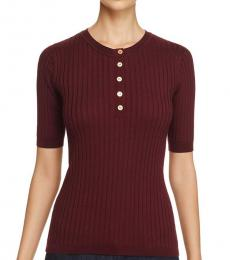 Tory Burch Maroon Cashmere Ribbed Henley Sweater