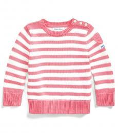 Ralph Lauren Baby Girls Lauren Pink Heart-Patch Sweater