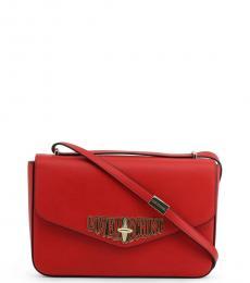 Red Turnlock Medium Shoulder Bag