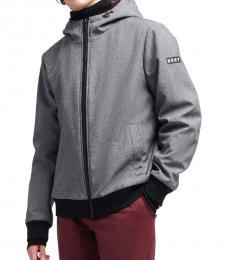 Heather Grey Contrast Hooded Jacket