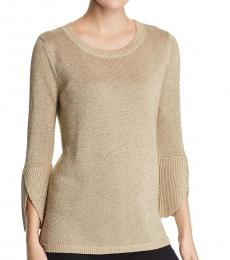 Gold  Metallic Knit Pullover Sweater