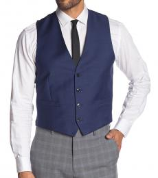 Calvin Klein Blue Twill Slim Fit Wool Suit Vest