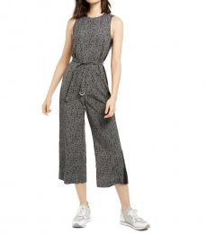 Michael Kors Black Logo-Print Belted Jumpsuit