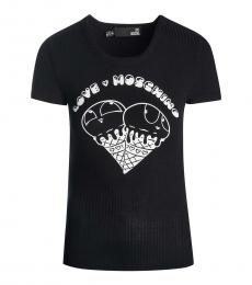 Love Moschino Black Ribbed Neck Logo Top