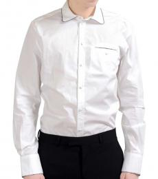 White Cotton Silk Dress Shirt