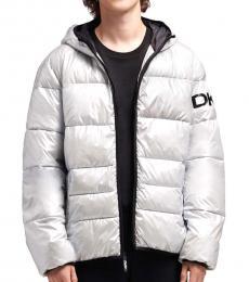 Grey Pearlized Logo Puffer Jacket