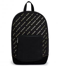 Black Logo Print Large Backpack