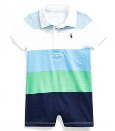Ralph Lauren Baby Boys Beryl Blue Striped Rugby Shortall