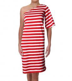 Ralph Lauren Red Multi One Shoulder Cotton Dress