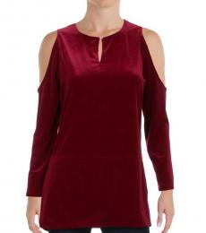 Ralph Lauren Cherry Velvet Cold Shoulder Top