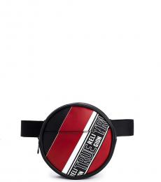 True Religion Black Logo Stripe Fanny Pack