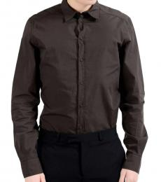 Dolce & Gabbana Brown Cotton Dress Shirt