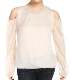 Ralph Lauren Natural Cold Shoulder Metallic Top