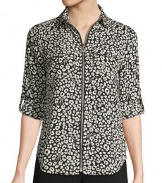Michael Kors BlackWhite Printed Full-Zip Shirt