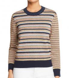 Tory Burch Multi color Merino Wool Striped Sweater
