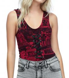 True Religion Ruby Red Lace Up Bodysuit