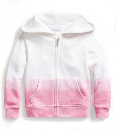 Ralph Lauren Baby Girls White Ombre Logo Hoodie
