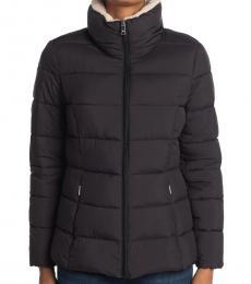 Ralph Lauren Black Faux Fur Collar Puffer Jacket