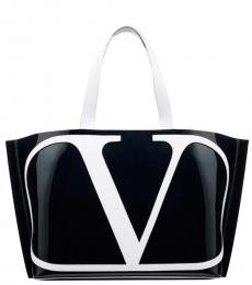 Black V Logo Large Tote