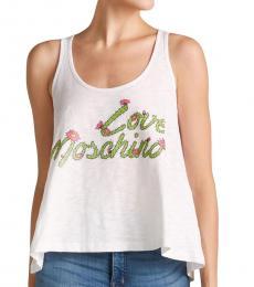 Love Moschino White Cactus Logo Tank Top
