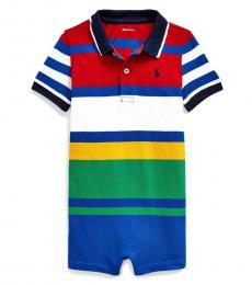 Baby Boys Multi Striped Polo Shortall