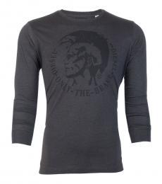 Diesel Dark Grey Graphic full Sleeves T-Shirt