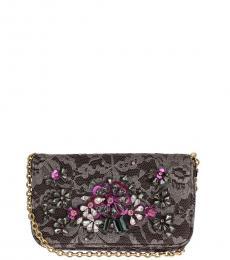 Dolce & Gabbana Dark Grey Floral Mini Shoulder Bag